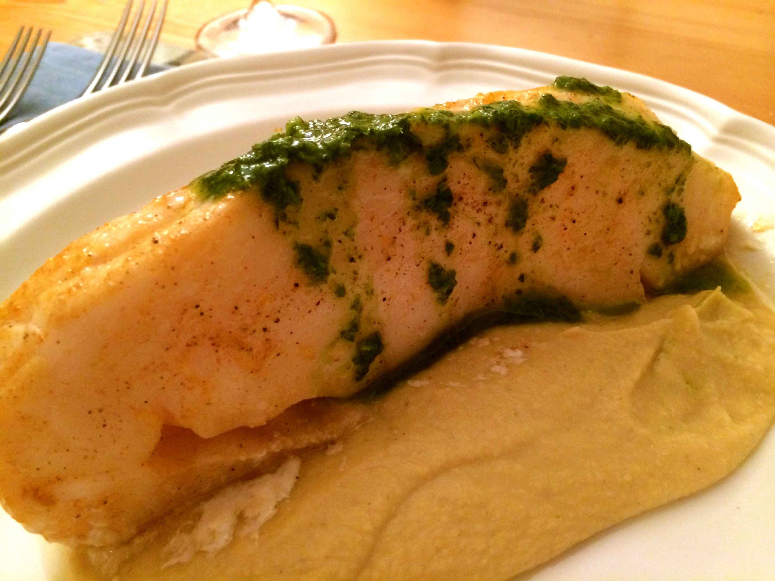 Roasted Sea Bass with Chickpea Puree and Parsley Sauce ...