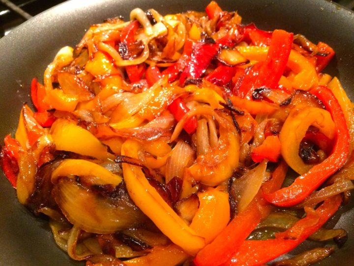 Browned peppers and onion