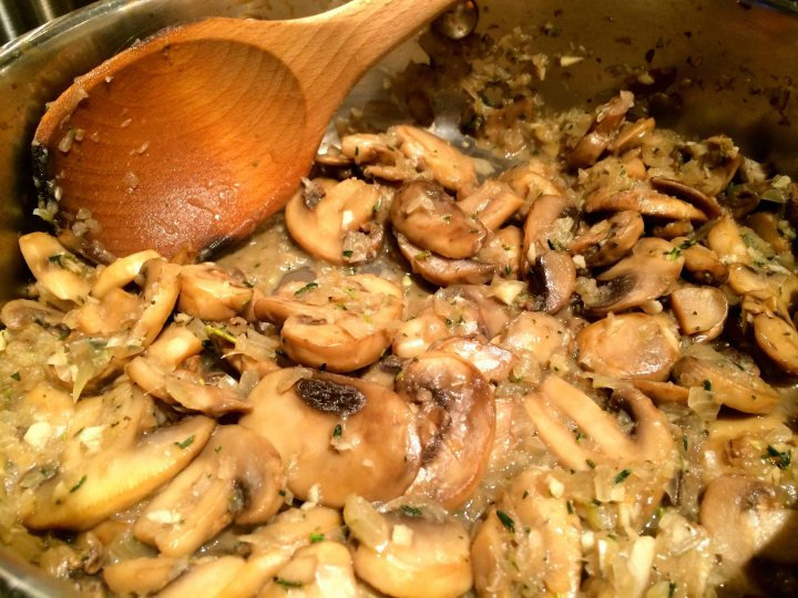 The mushrooms, onion, garlic, and thyme