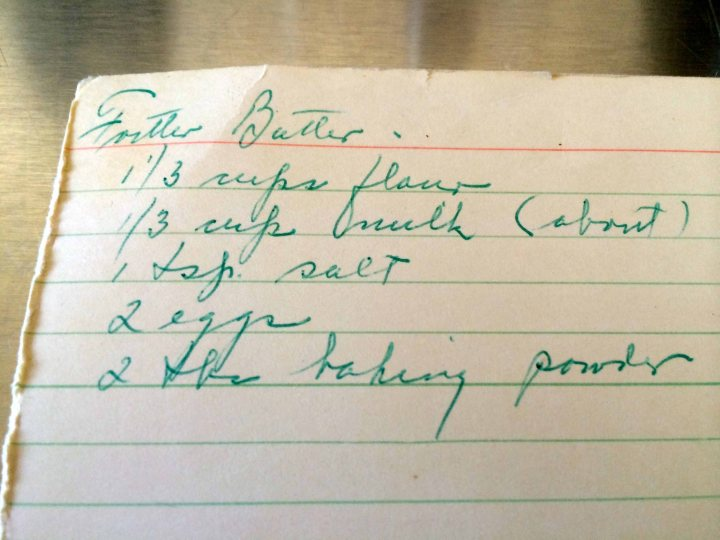 My aunt's recipe card