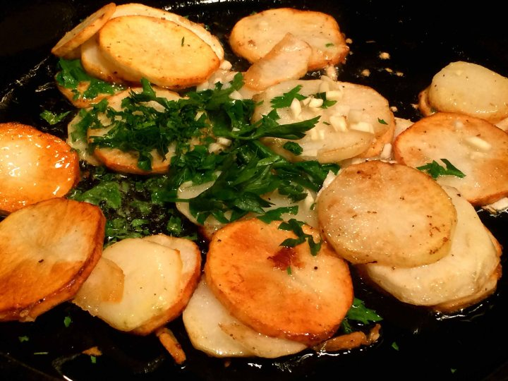 The potatoes cooked in duck fat
