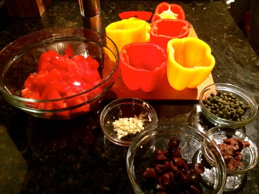 The prepped ingredients