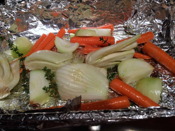 The oiled and seasoned vegetables