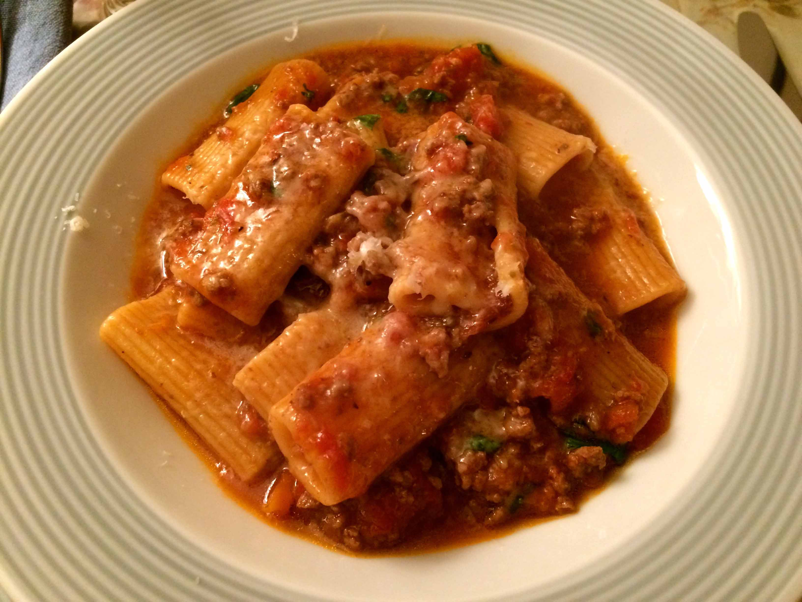 Pressure Cooker Meat Sauce with Rigatoni | Cooking from Books