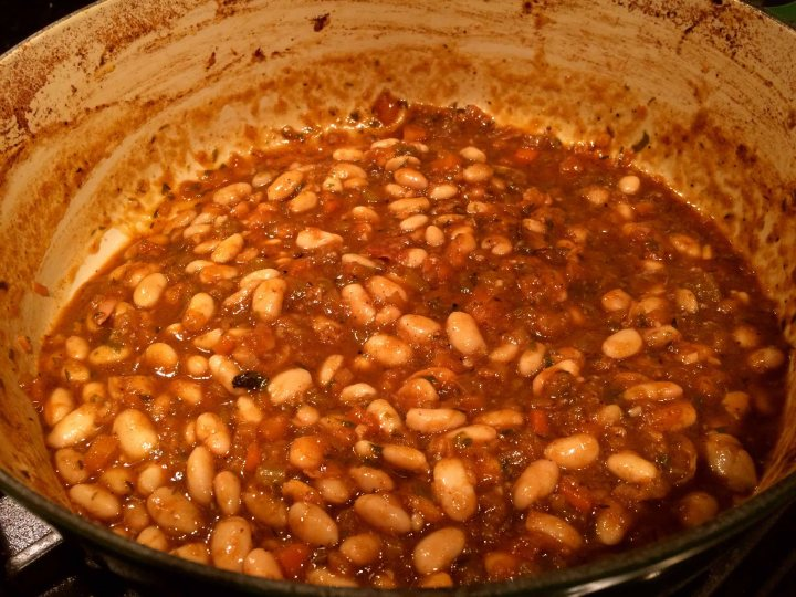 Beans added to the sauce