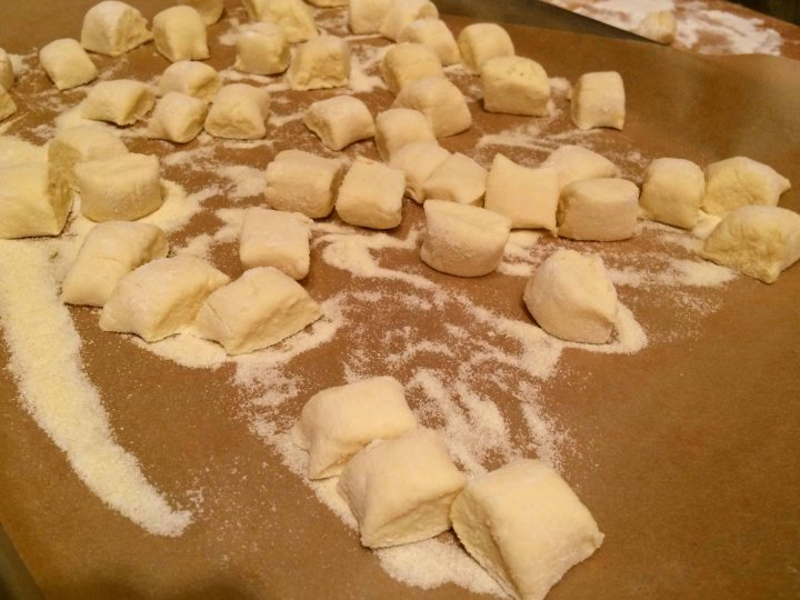 Cut raw gnocchi