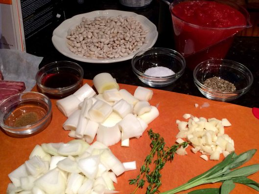 Beans, herbs, aromatics, and seasoning