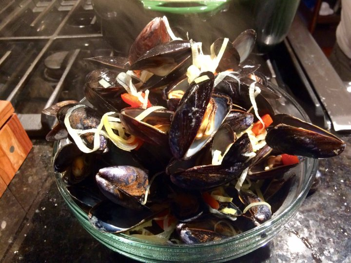 The opened mussels