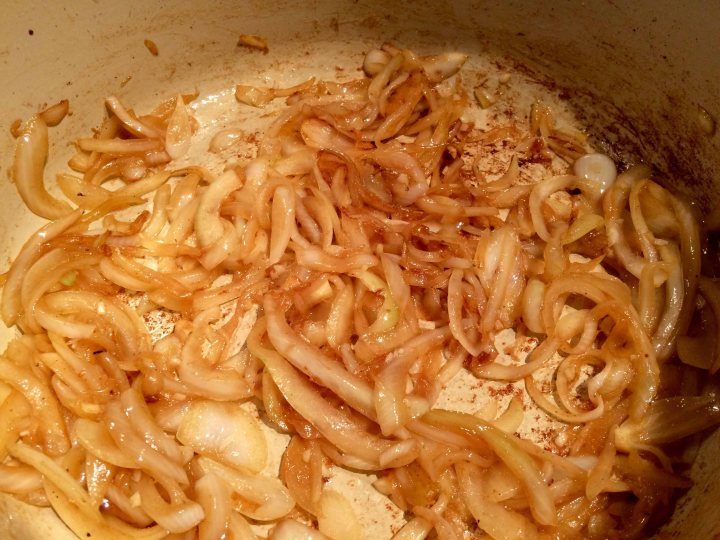 The browned onions and garlic