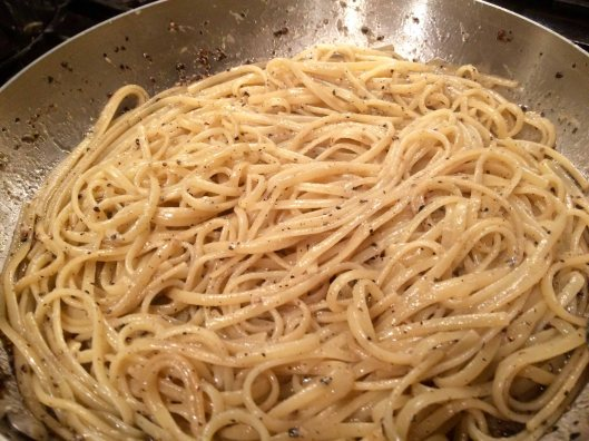 Spaghetti tossed with cheese and pepper