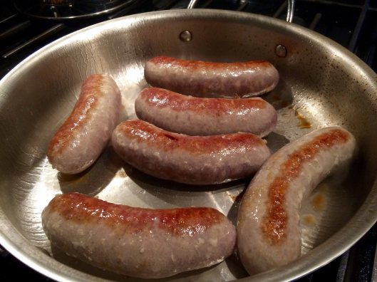 Browned sausages