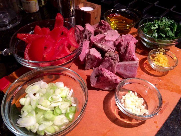 Prepped ingredients