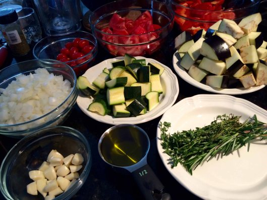 The prepped vegetables